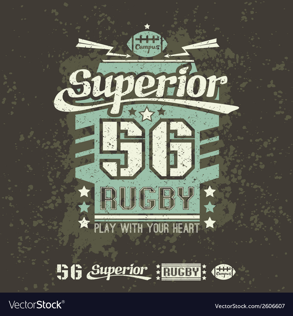 Rugby emblem print and design elements vector | Price: 1 Credit (USD $1)