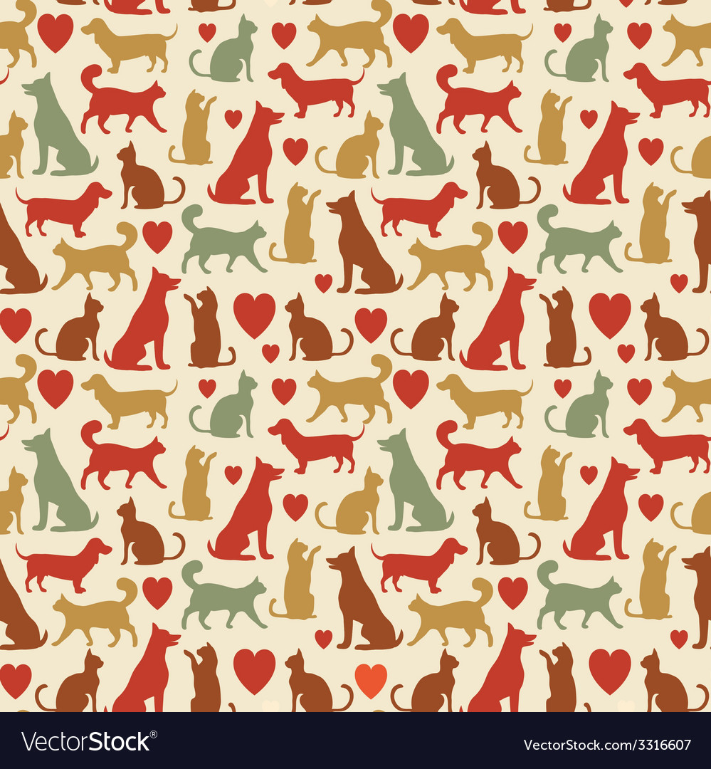 Seamless pattern with cats and dogs vector   Price: 1 Credit (USD $1)