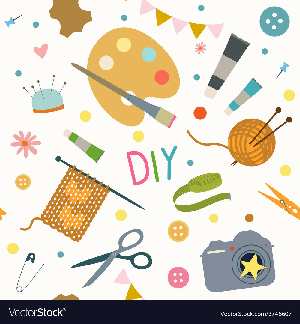 Seamless print with hobby tools vector | Price: 1 Credit (USD $1)