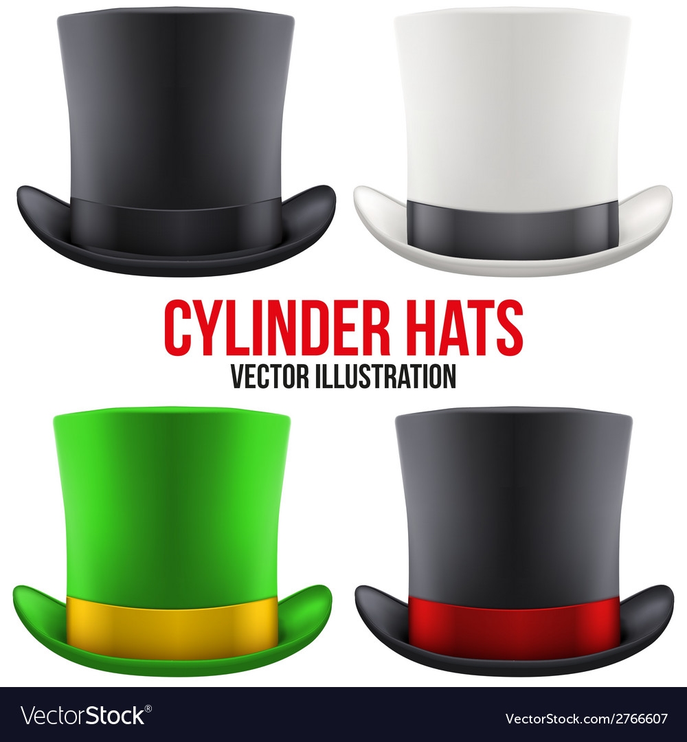 Set of gentleman hat cylinder vector | Price: 1 Credit (USD $1)