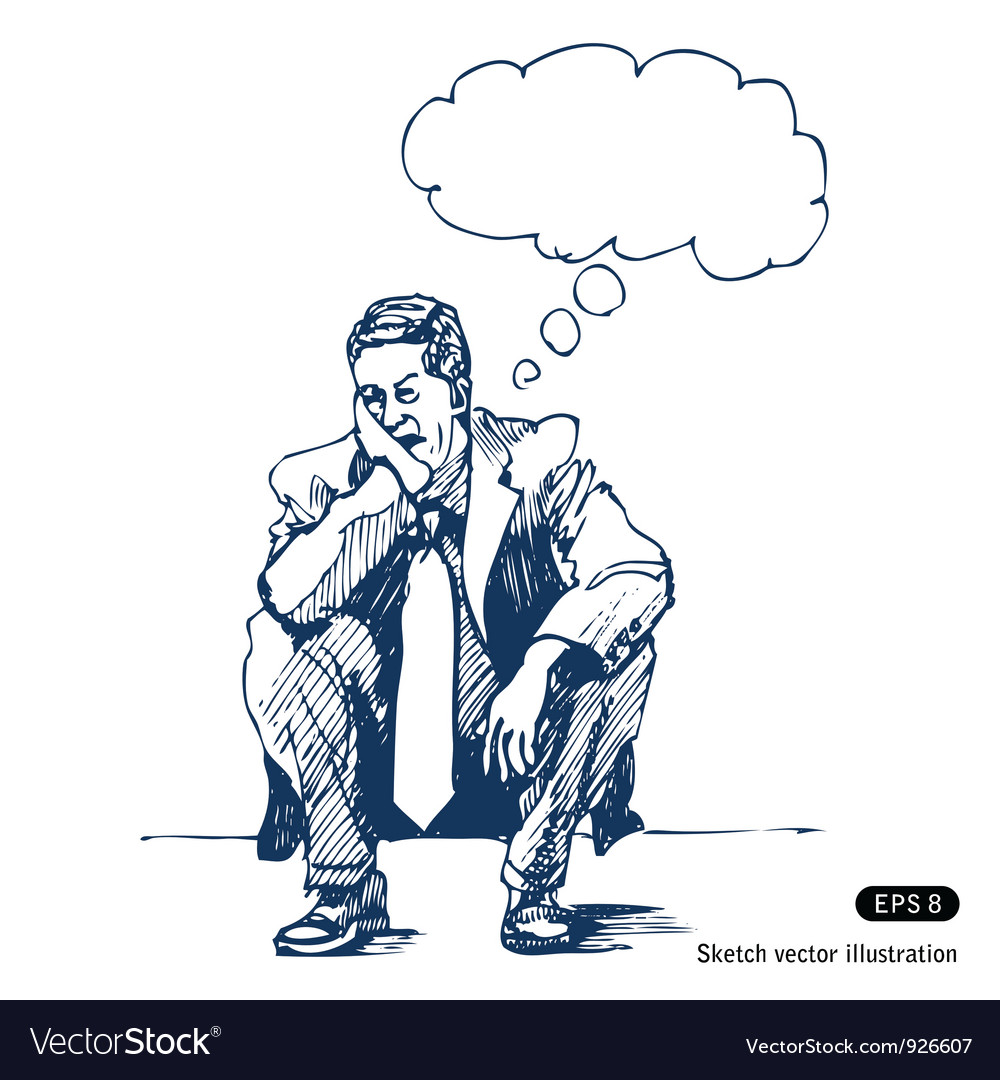 Stressed man sitting on step vector | Price: 1 Credit (USD $1)