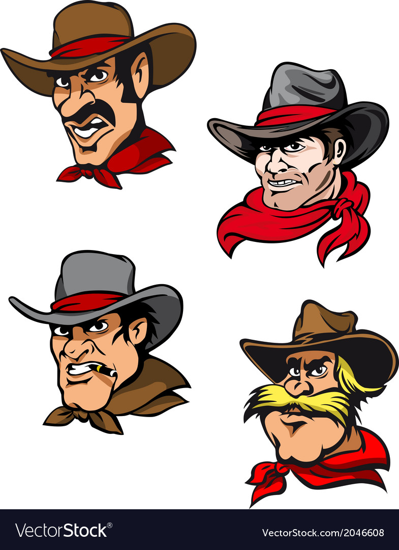 Cartoon cowboys set vector | Price: 1 Credit (USD $1)
