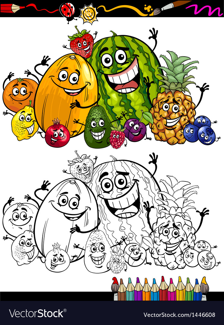 Cartoon fruits group for coloring book vector | Price: 1 Credit (USD $1)