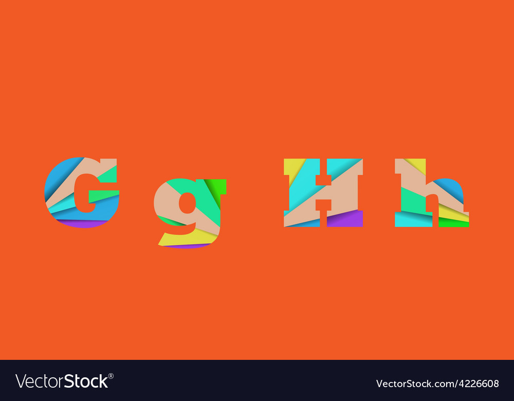 Cut into several parts within font gh vector | Price: 1 Credit (USD $1)