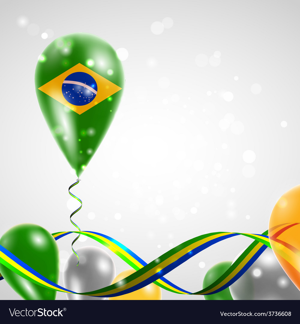Flag of brazil on balloon vector | Price: 3 Credit (USD $3)