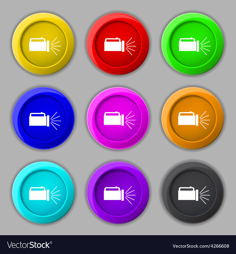 Flashlight icon sign symbol on nine round vector | Price: 1 Credit (USD $1)