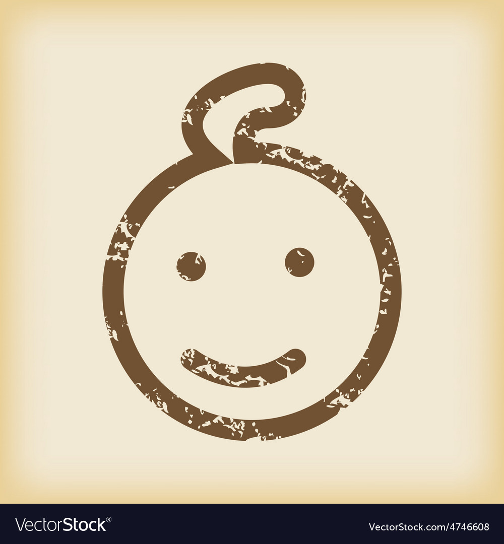 Grungy smiling child icon vector | Price: 1 Credit (USD $1)