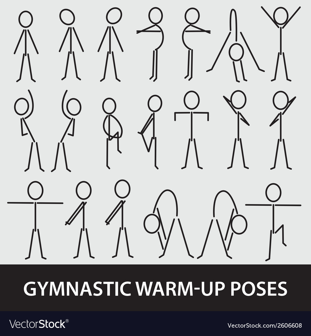 Gymnastic warm-up poses eps10 vector | Price: 1 Credit (USD $1)