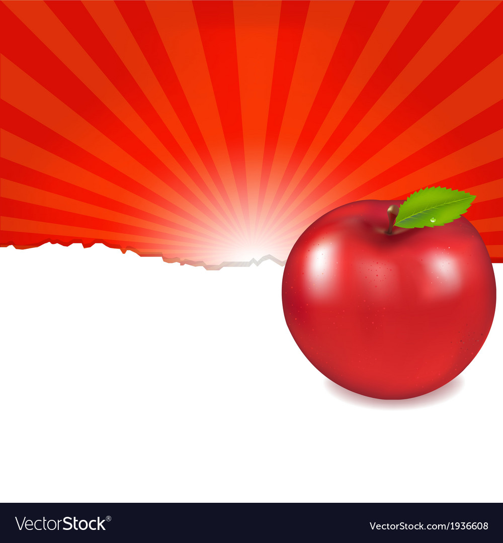 Red apple and sunburst vector | Price: 1 Credit (USD $1)