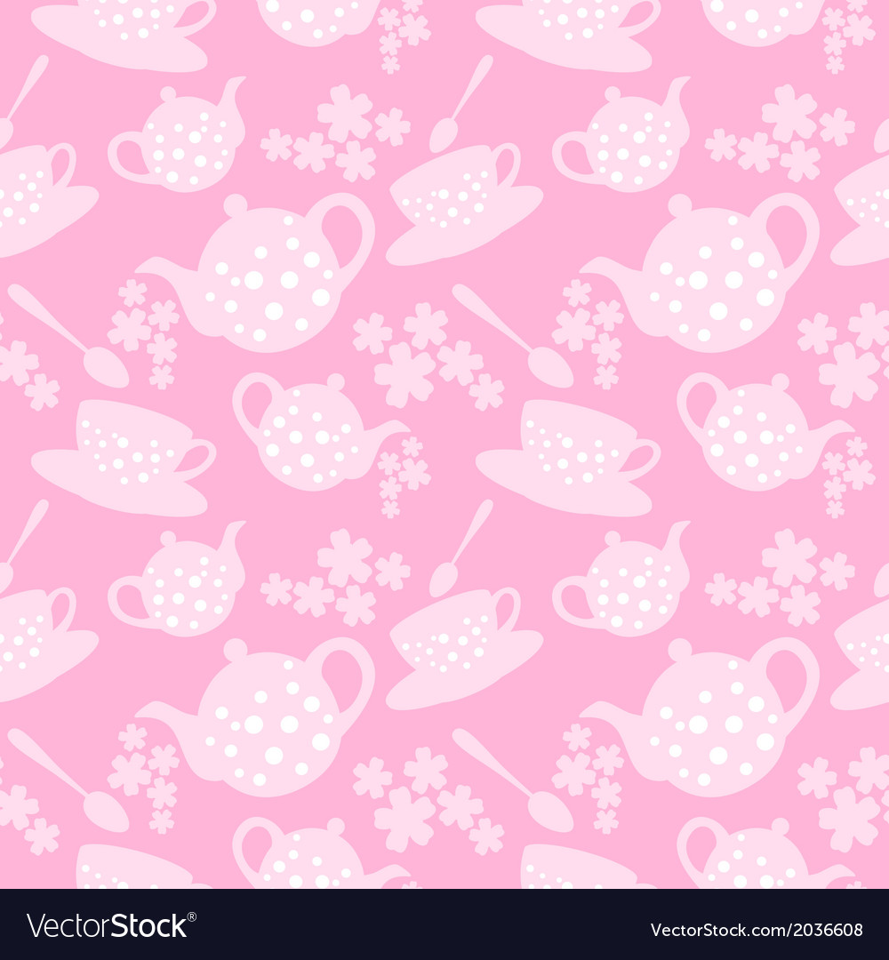 Teapot and cup seamless pattern vector | Price: 1 Credit (USD $1)