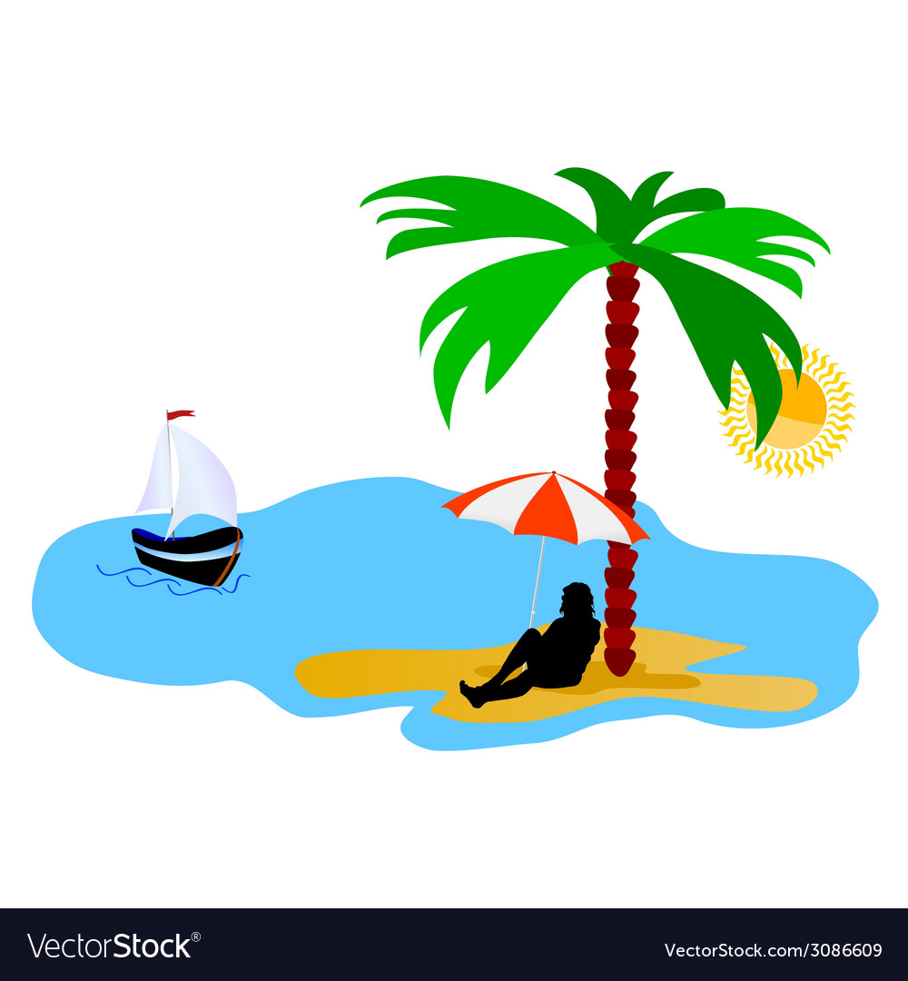 Beach with palm tree and sea and summer idyll vector | Price: 1 Credit (USD $1)