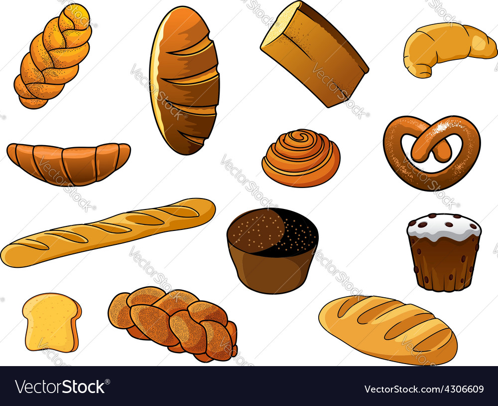 Cartoon different kinds of bread and pastries vector   Price: 1 Credit (USD $1)