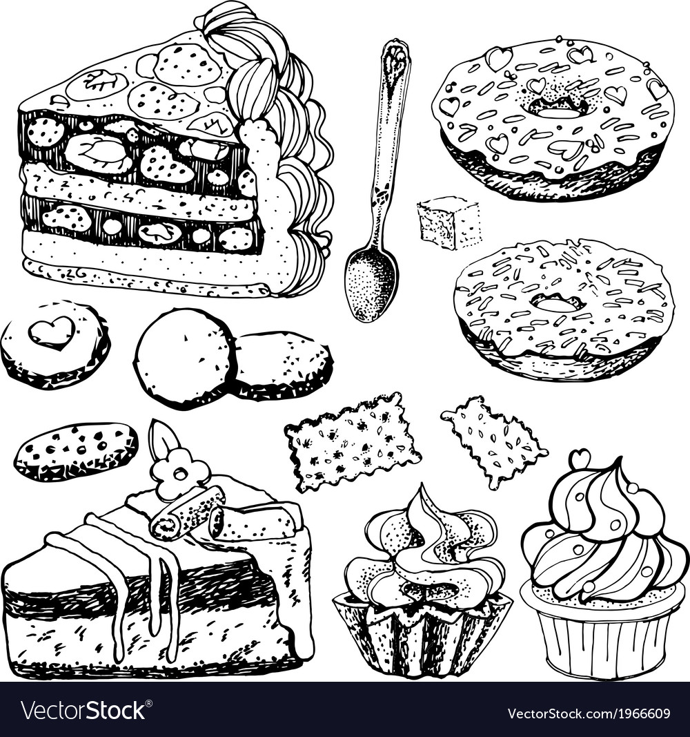 Collection of hand drawn bakery goods vector | Price: 1 Credit (USD $1)