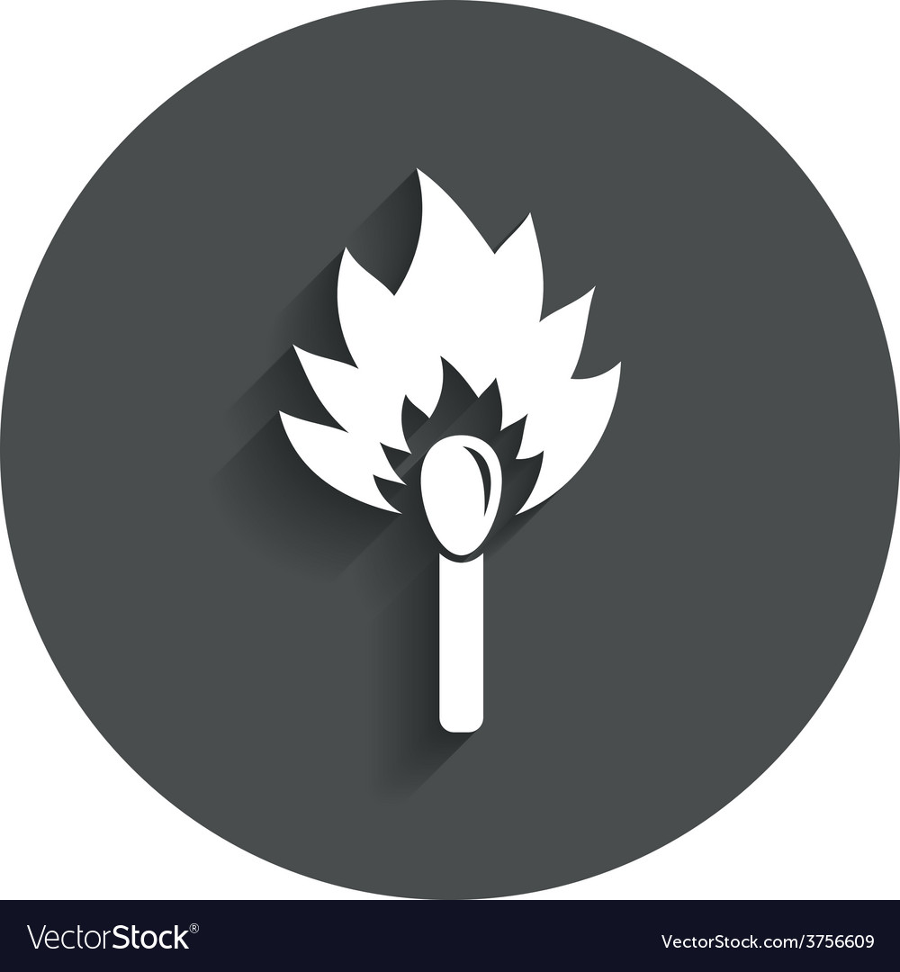 Match stick burns icon burning matchstick sign vector | Price: 1 Credit (USD $1)