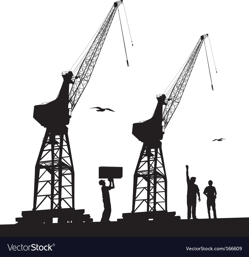 Silhouette of harbour cranes vector | Price: 1 Credit (USD $1)