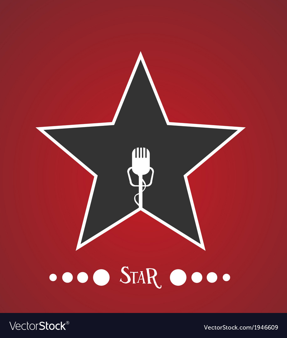 Star with microphone vector | Price: 1 Credit (USD $1)