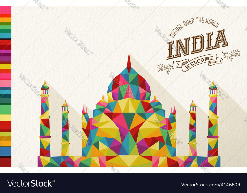 Travel india landmark polygonal monument vector | Price: 1 Credit (USD $1)