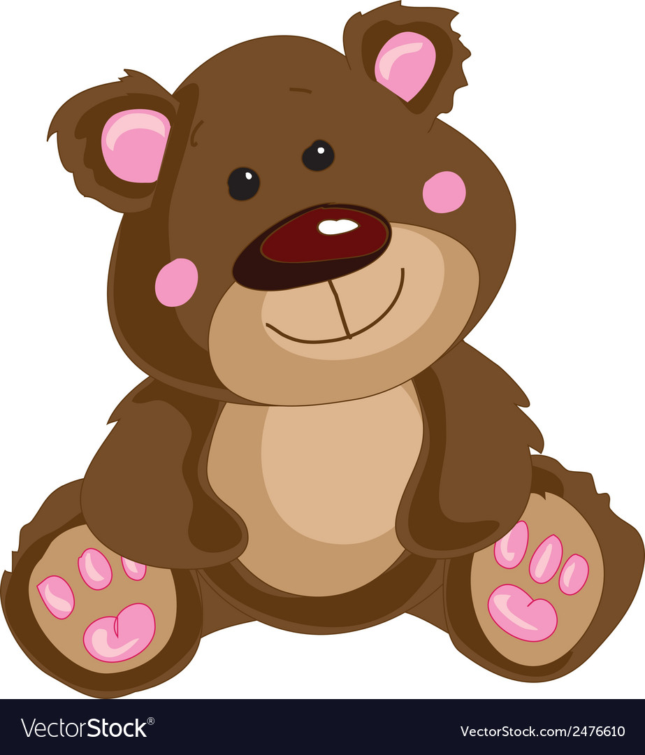 Brown teddy bear on a white background vector | Price: 1 Credit (USD $1)