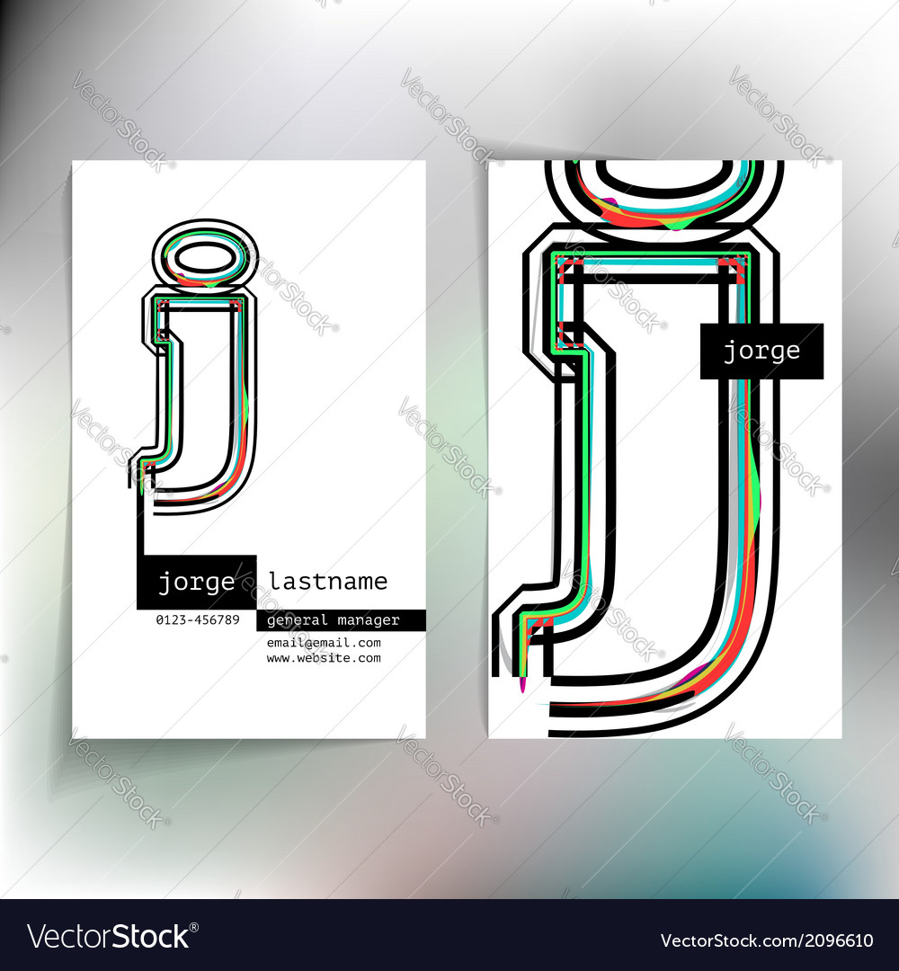 Business card design with letter j vector | Price: 1 Credit (USD $1)