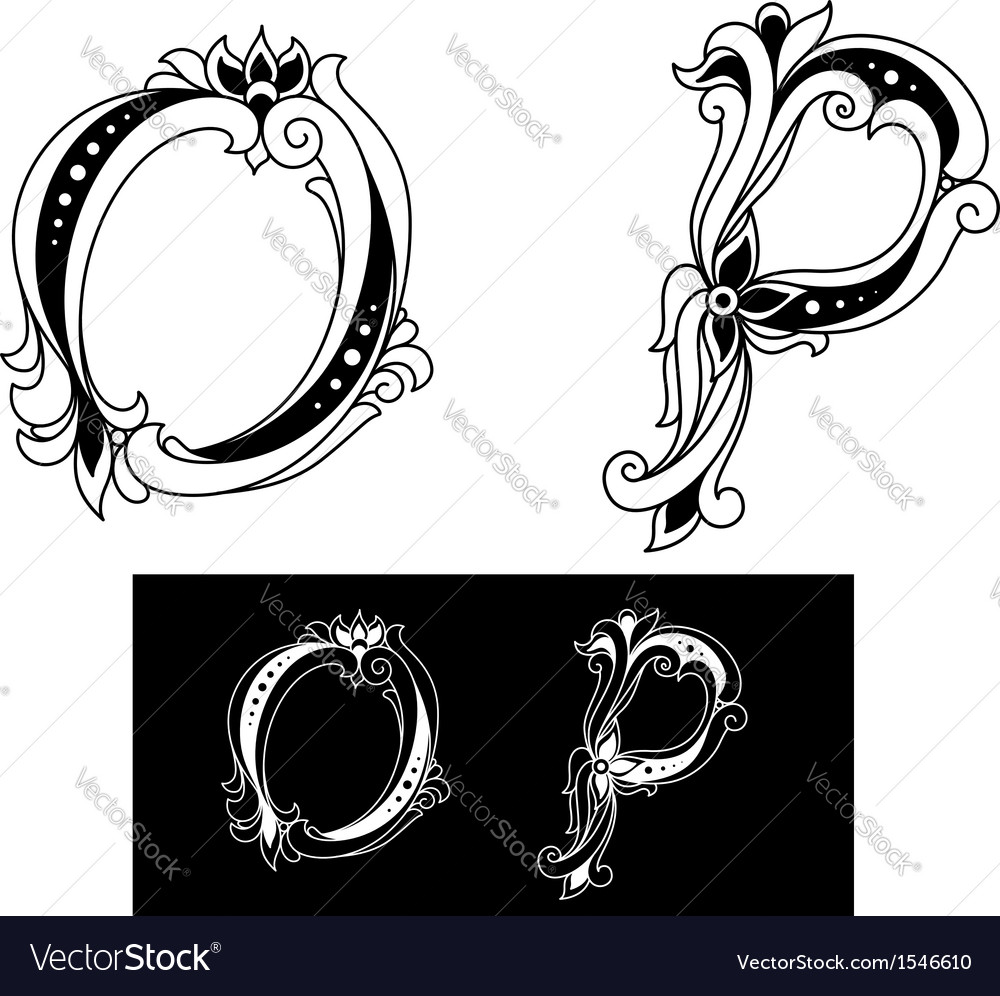 Capital letters o and p vector | Price: 1 Credit (USD $1)