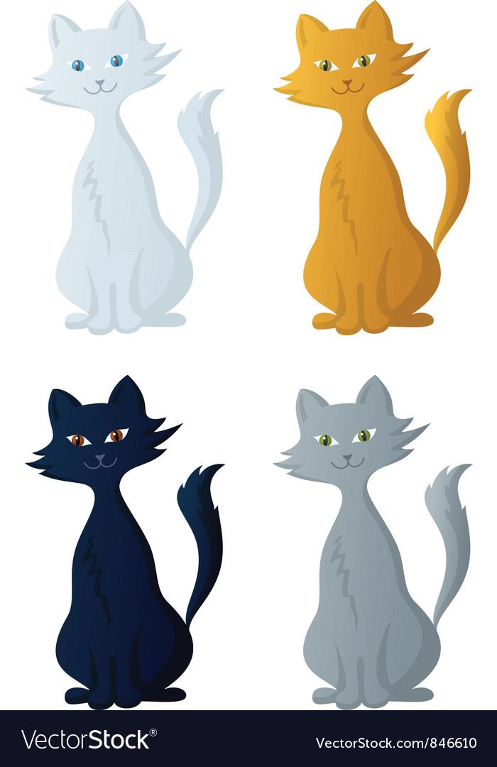 Cartoon cat set vector | Price: 1 Credit (USD $1)