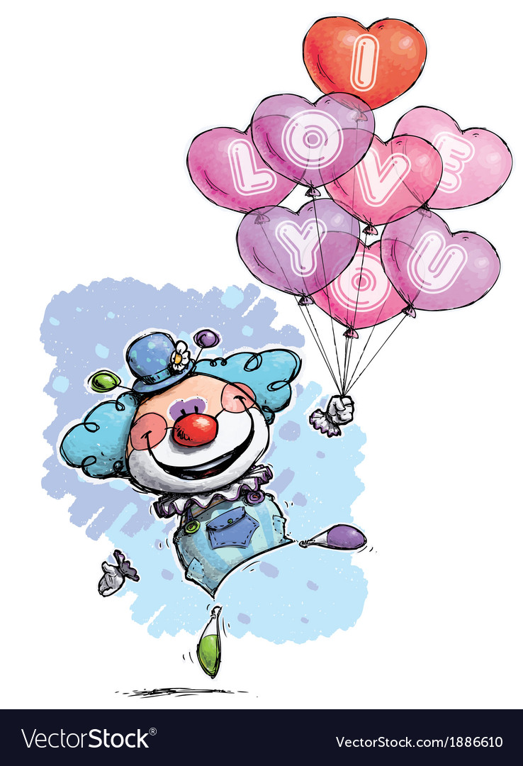 Clown with heart balloons saying i love you boy vector | Price: 3 Credit (USD $3)