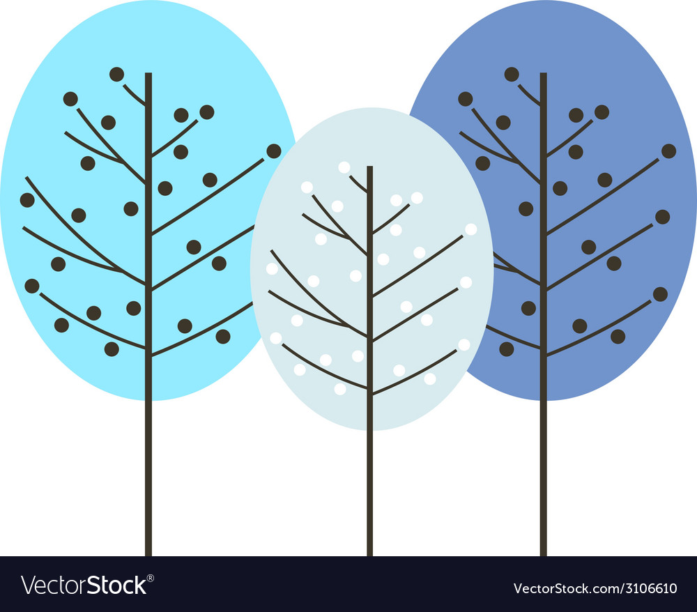 Colorful abstract winter trees isolated on white vector   Price: 1 Credit (USD $1)