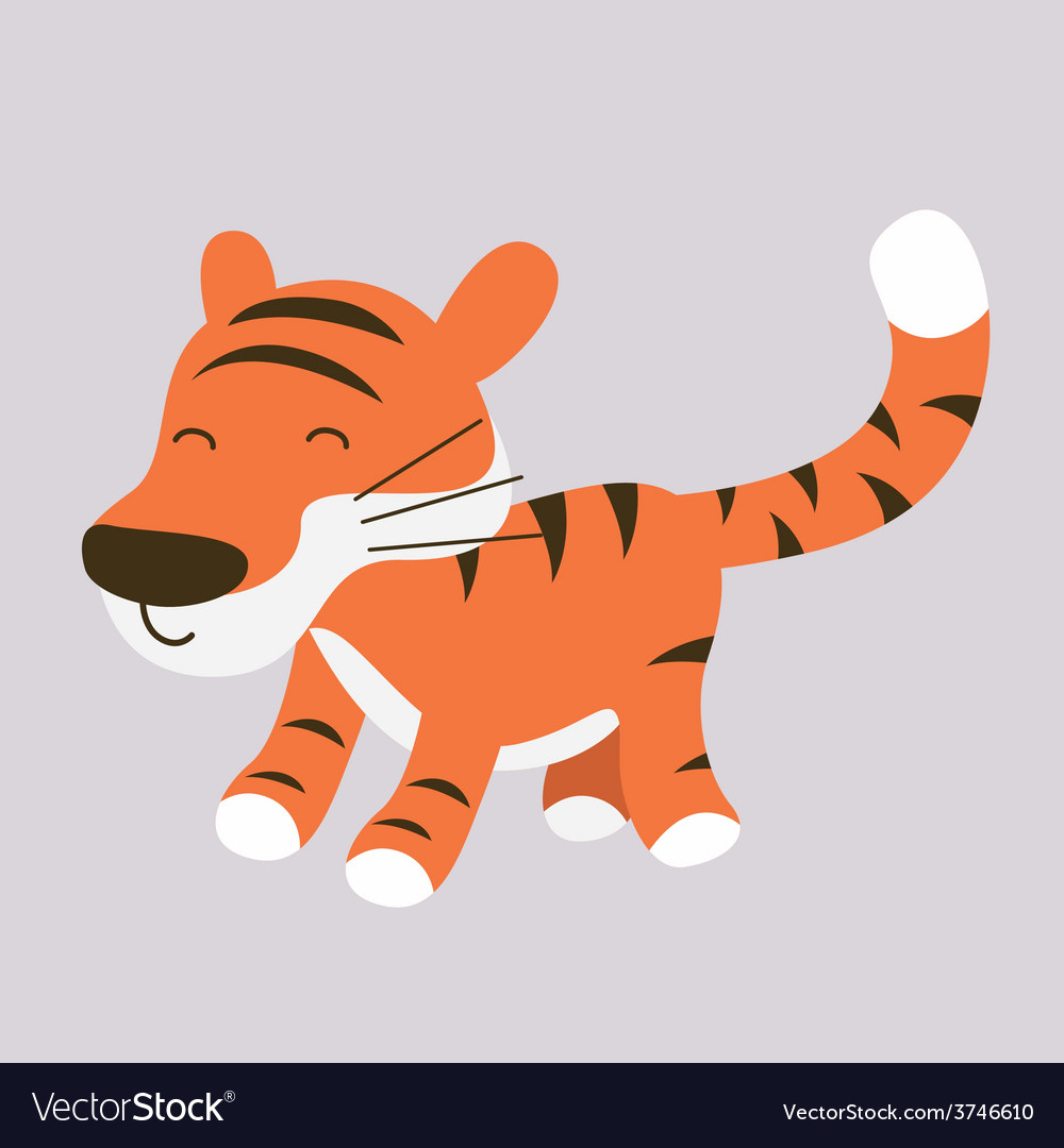 Cute cartoon tiger character vector | Price: 1 Credit (USD $1)