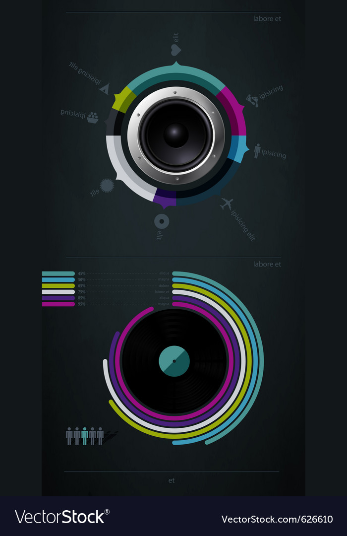 Infographic music elements vector | Price: 1 Credit (USD $1)
