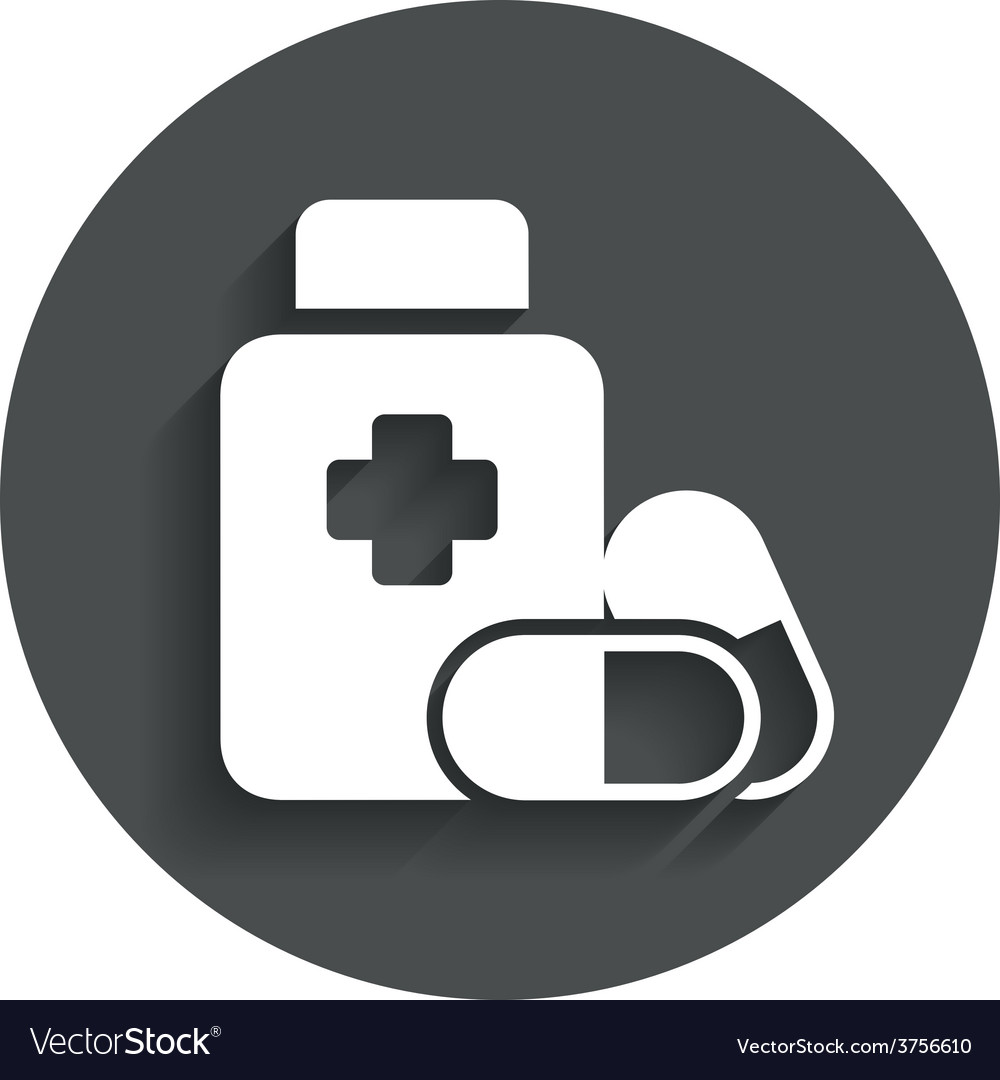 Medical pills bottle sign icon drugs symbol vector | Price: 1 Credit (USD $1)