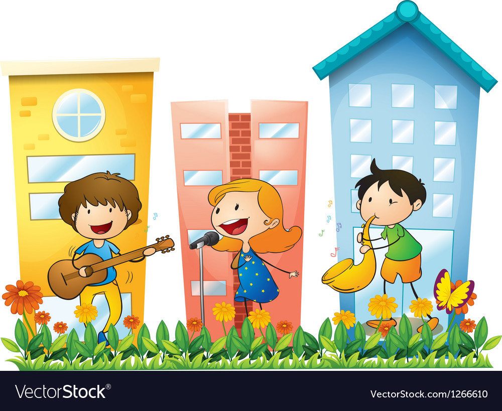 Musicians performing near the buildings vector | Price: 1 Credit (USD $1)