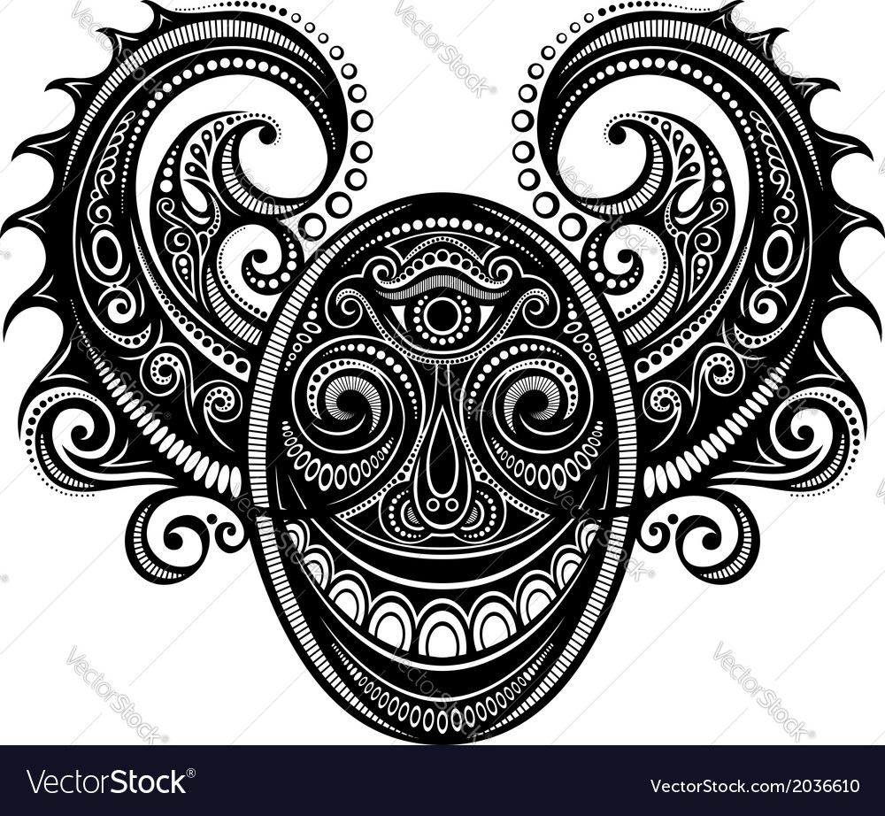 Ornate face of demon vector | Price: 1 Credit (USD $1)