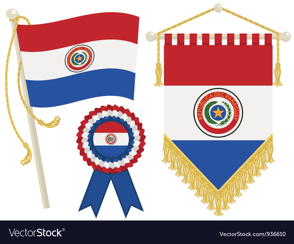 Paraguay flags vector | Price: 1 Credit (USD $1)