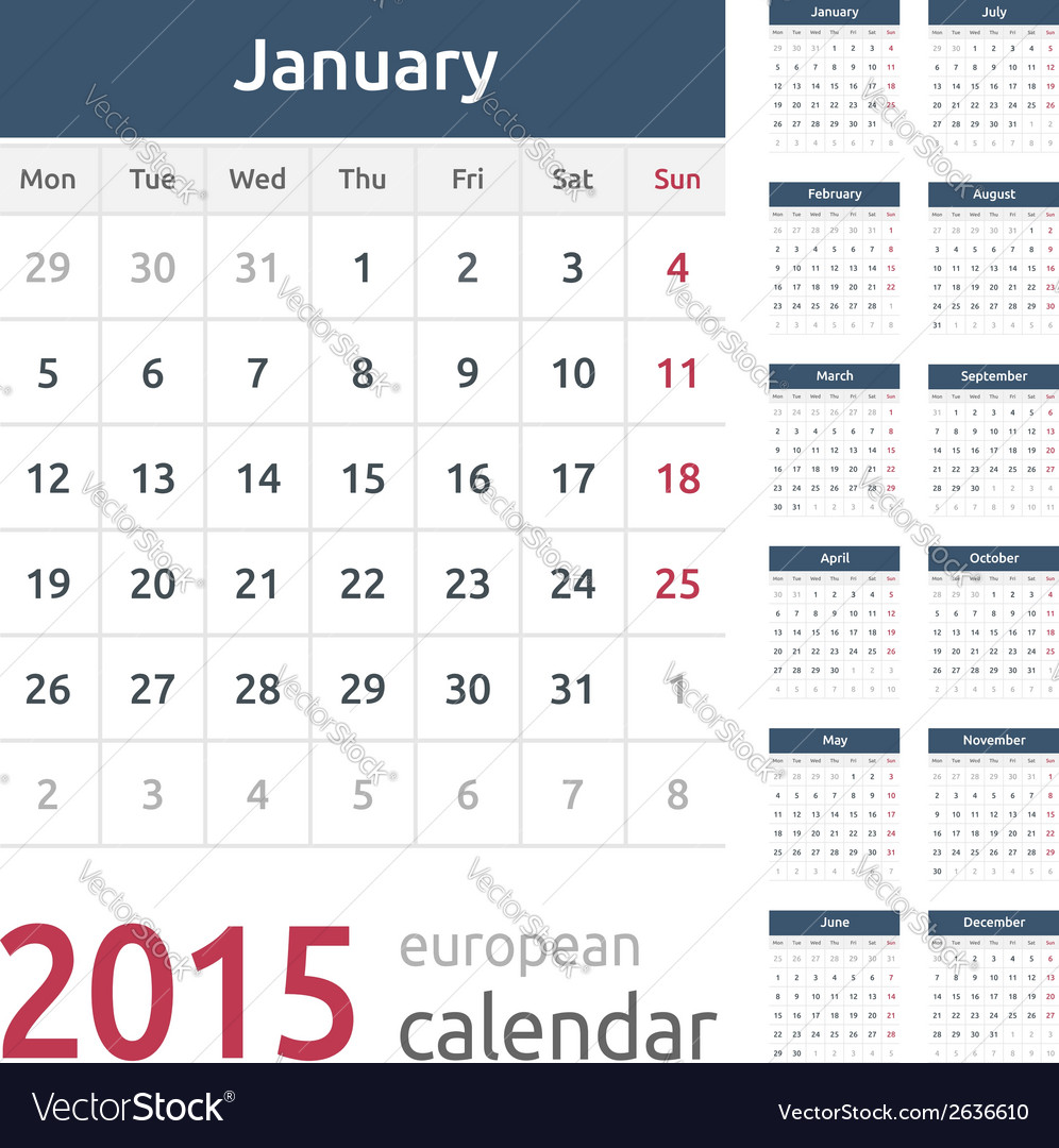 Simple european 2015 year calendar vector | Price: 1 Credit (USD $1)