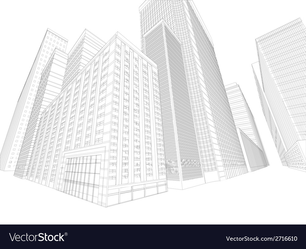 Townscape wireframe building vector | Price: 1 Credit (USD $1)
