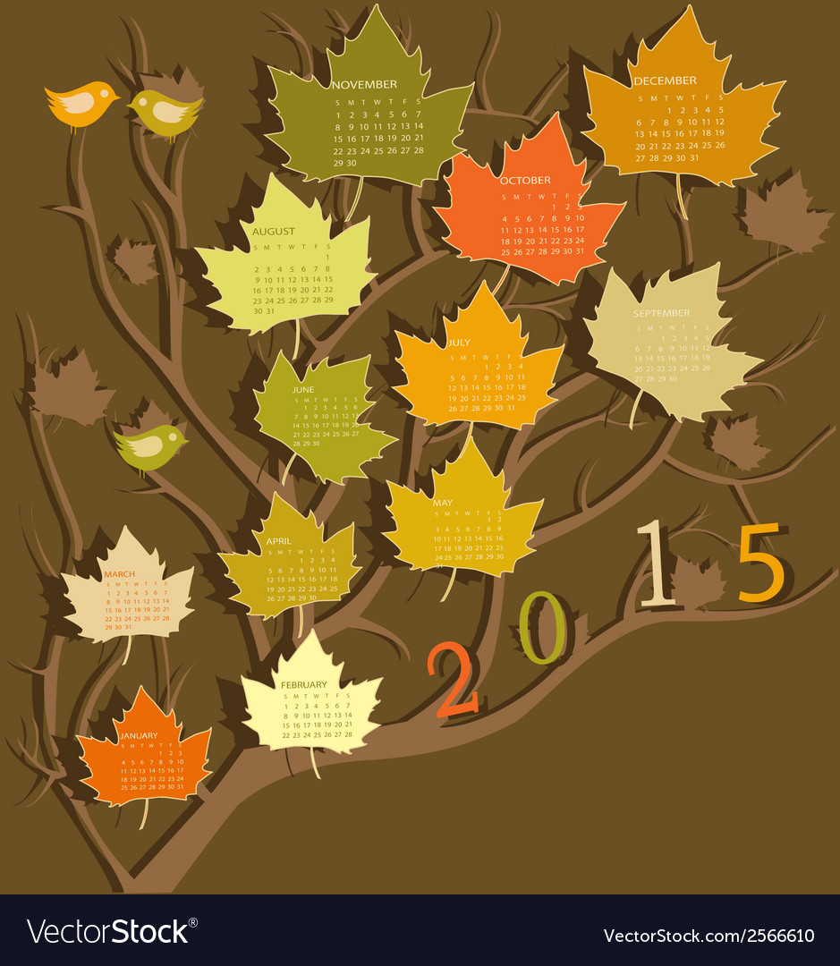 Tree shape calendar for 2015 vector | Price: 1 Credit (USD $1)