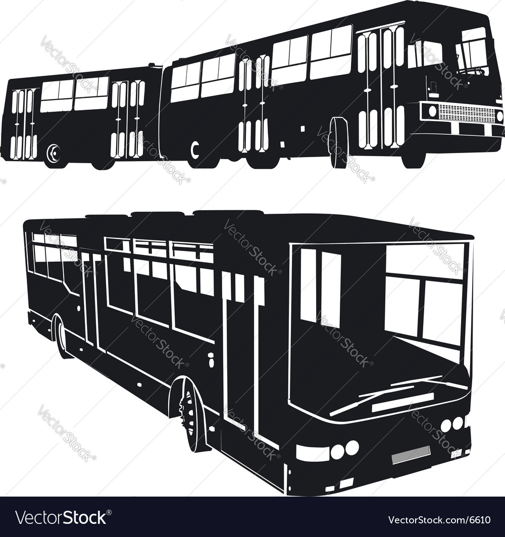 Urban buses silhouettes set vector | Price: 1 Credit (USD $1)