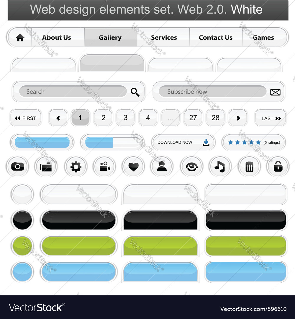 Web design elements set white vector | Price: 1 Credit (USD $1)