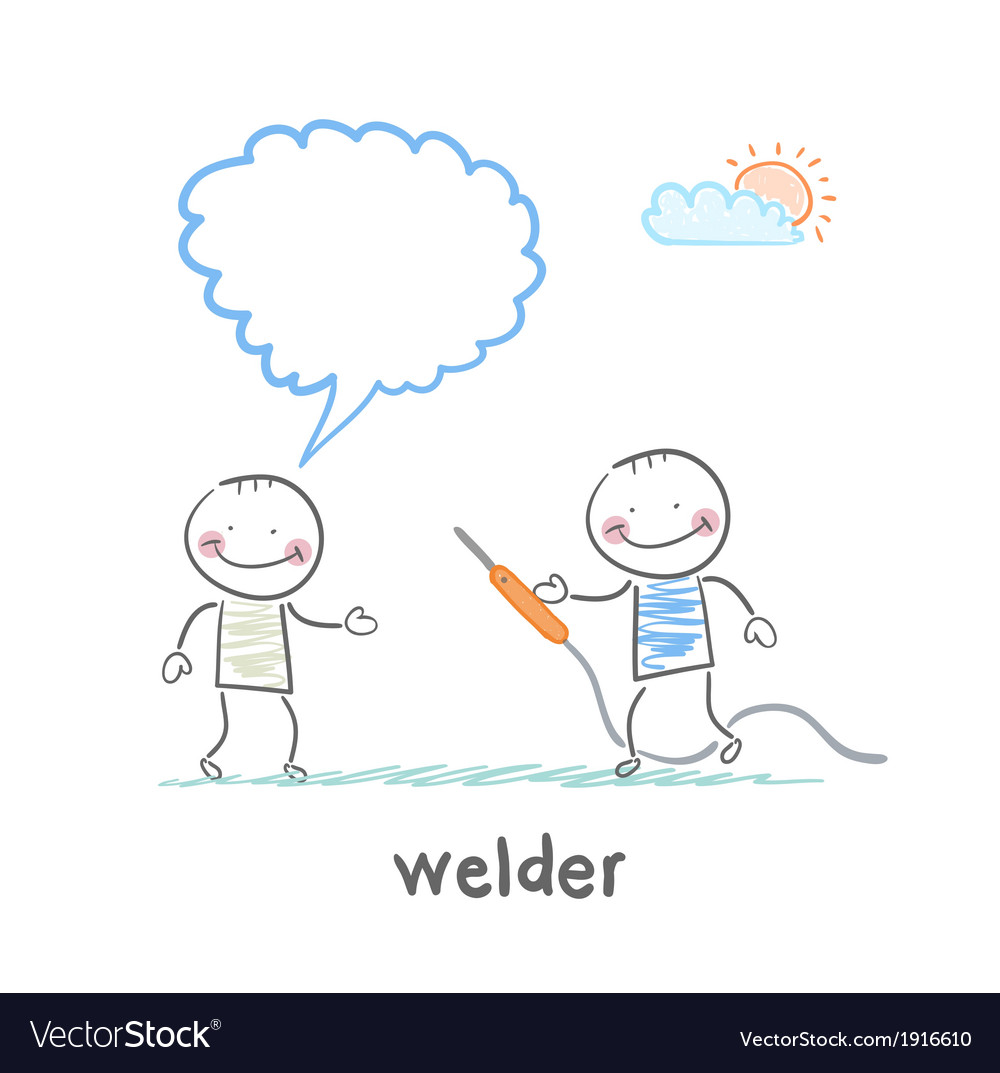 Welder with welding machine with the client says vector   Price: 1 Credit (USD $1)