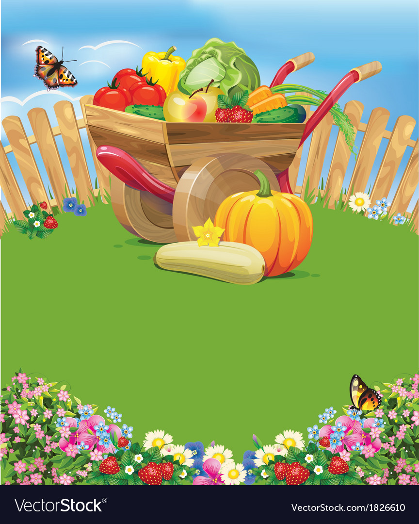 Wheelbarrow with vegetables vector | Price: 3 Credit (USD $3)