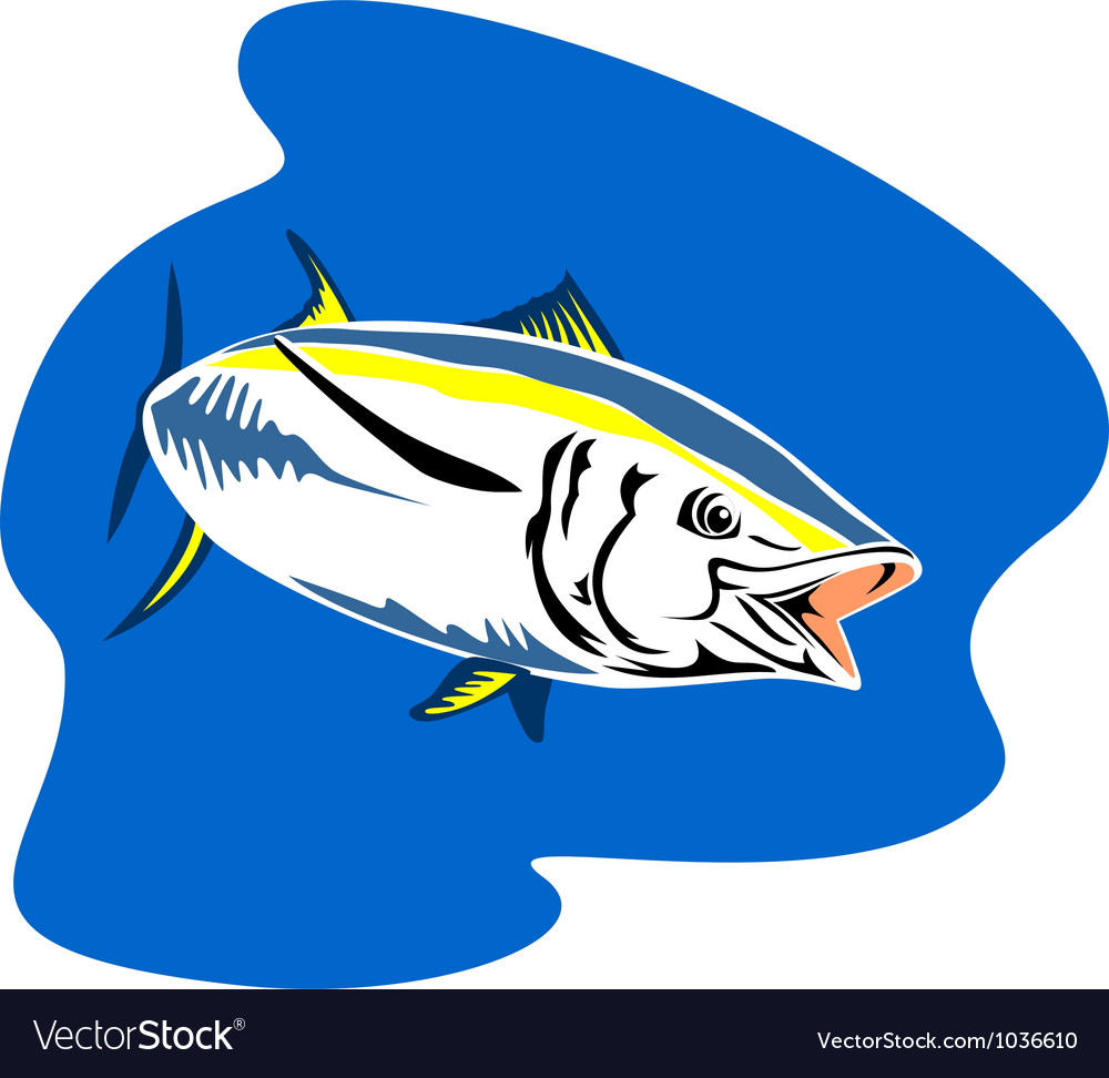 Yellow fin tuna fish retro vector | Price: 1 Credit (USD $1)