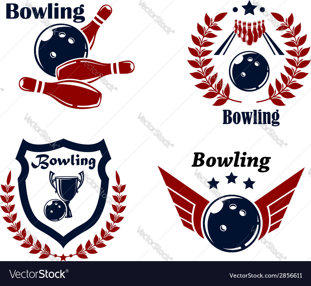 Bowling emblems or badges vector | Price: 1 Credit (USD $1)