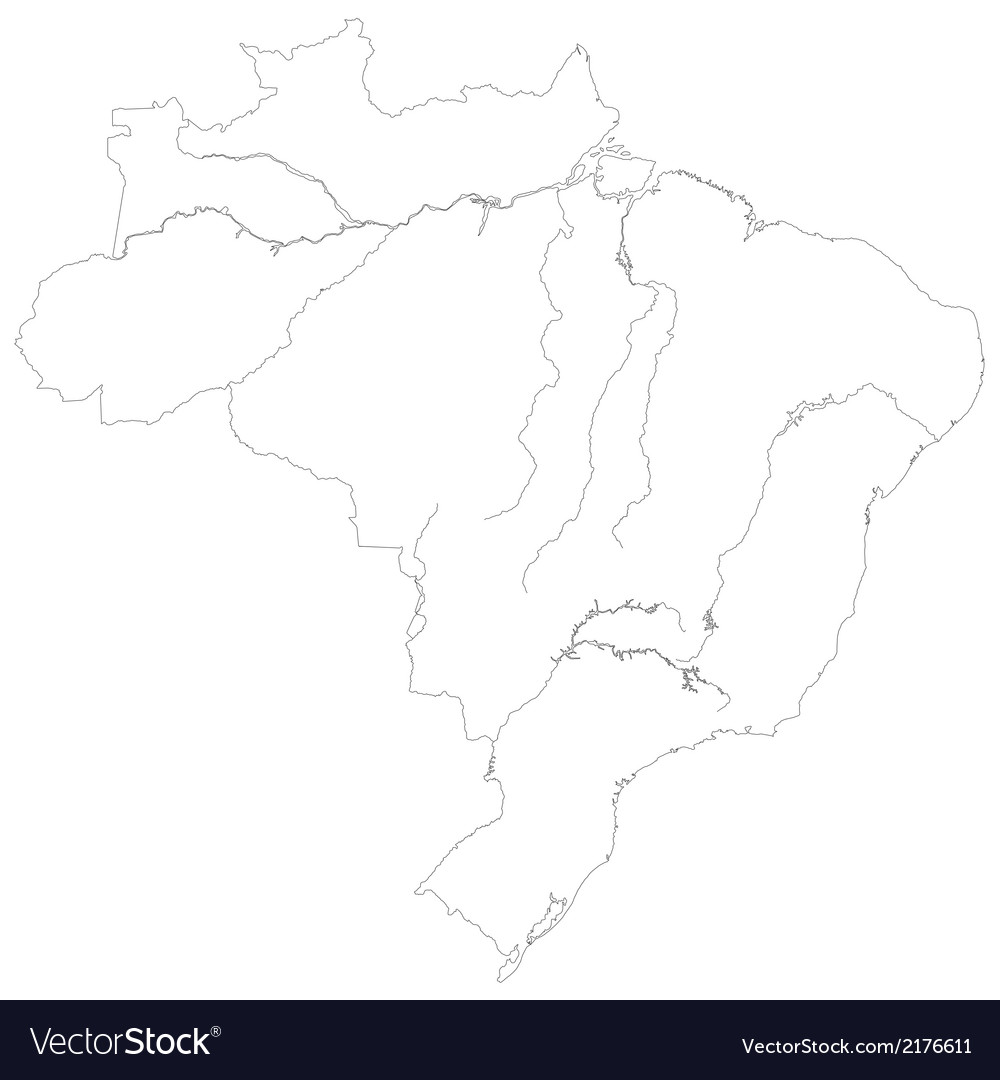 Contour map of brazil vector | Price: 1 Credit (USD $1)