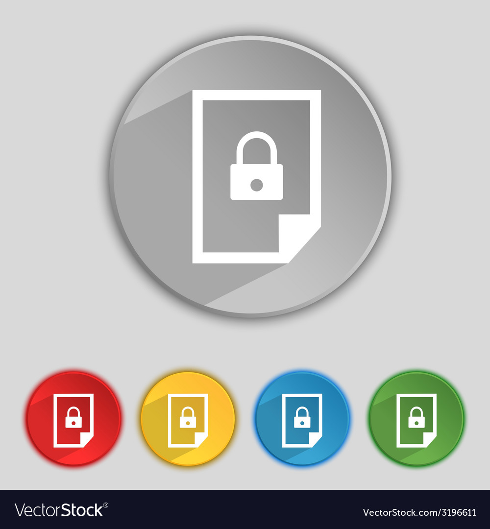 File locked icon sign set of coloured buttons vector   Price: 1 Credit (USD $1)