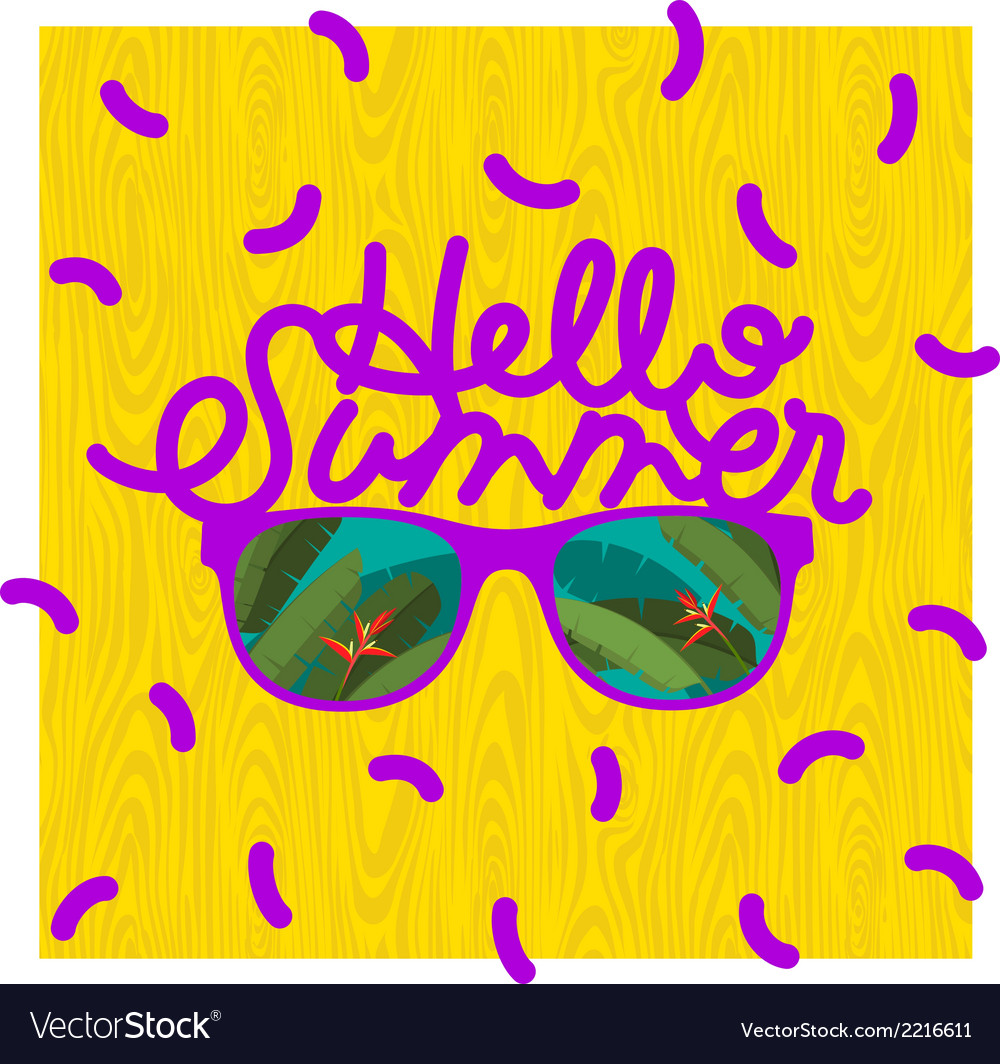 Hello summer sunglasses with tropical island vector | Price: 1 Credit (USD $1)