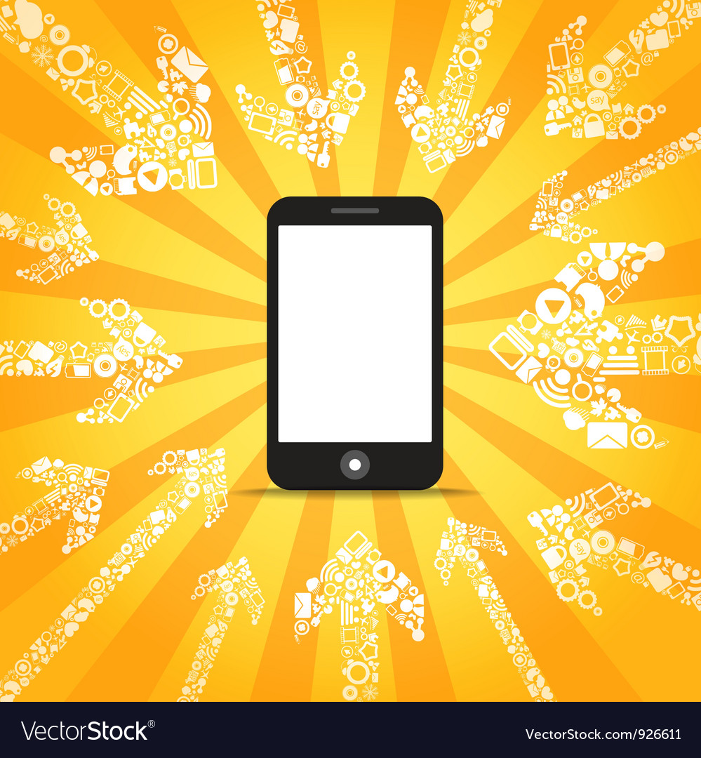 Media content goes to modern mobile phone vector | Price: 1 Credit (USD $1)