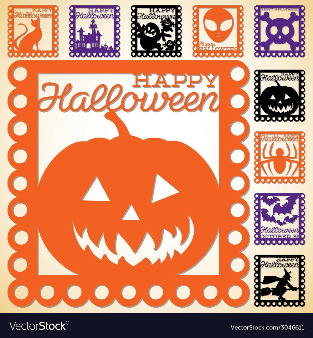 Set of halloween papel picado in format vector | Price: 1 Credit (USD $1)