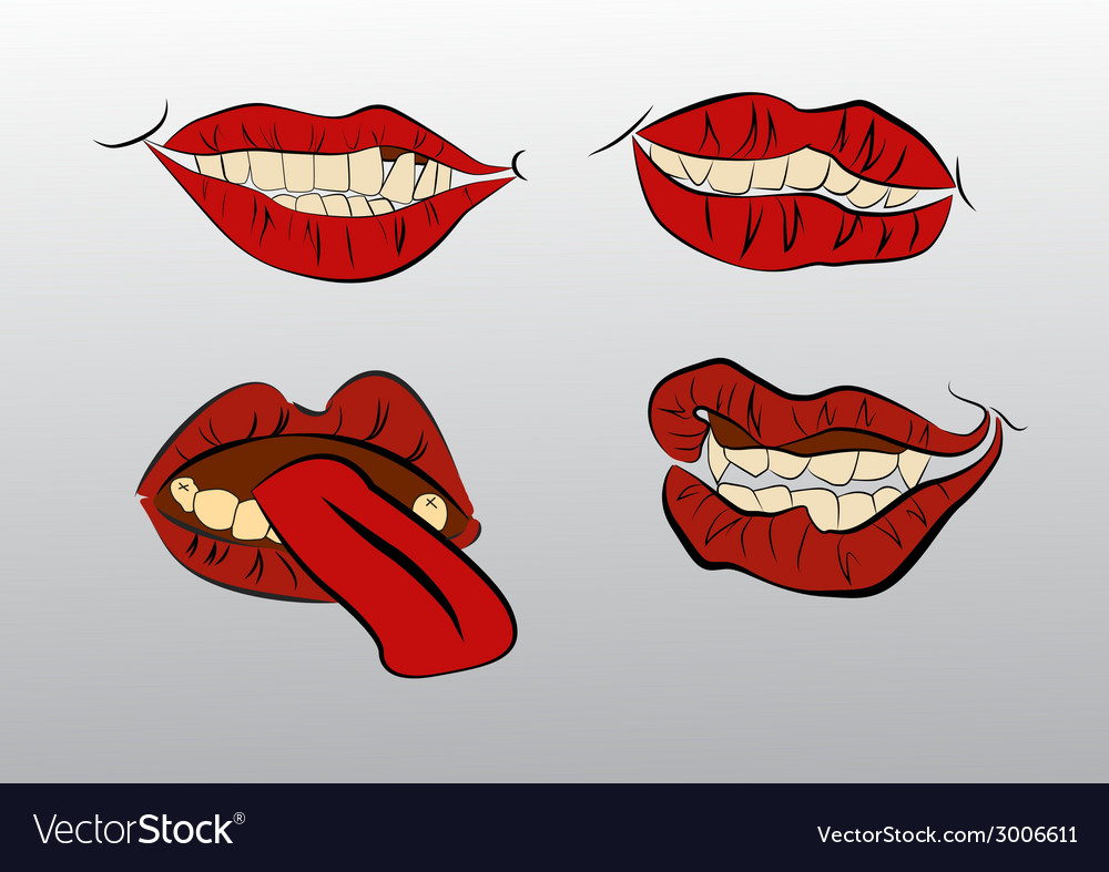 Tattoo collection mouths with lips vector | Price: 1 Credit (USD $1)