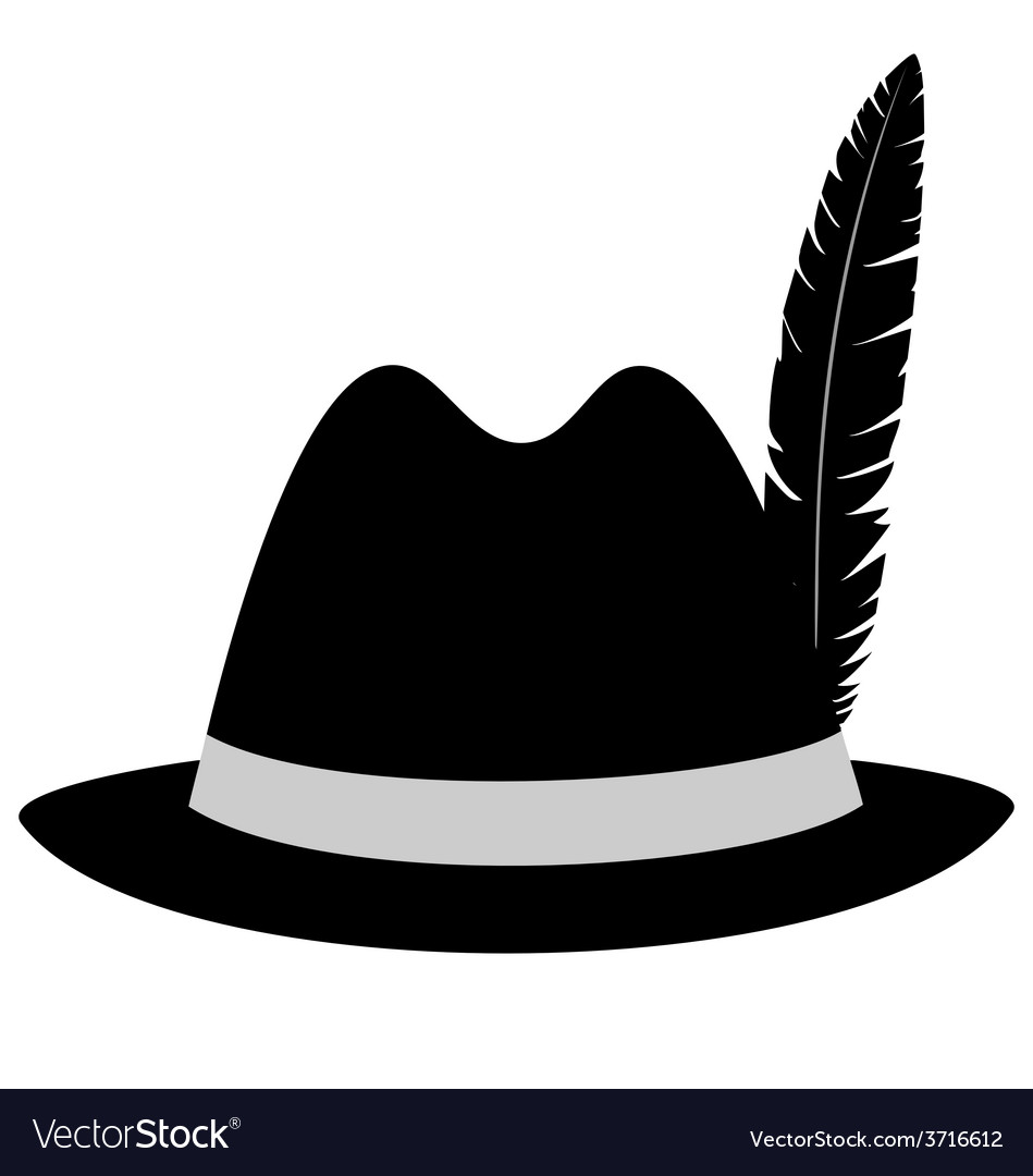Black hat with feather on white vector | Price: 1 Credit (USD $1)
