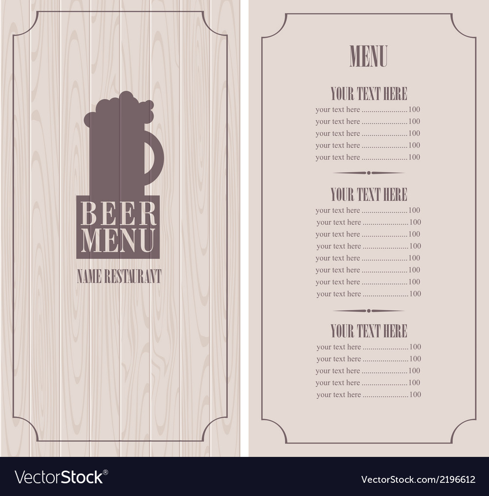 Menu with beer mug vector | Price: 1 Credit (USD $1)